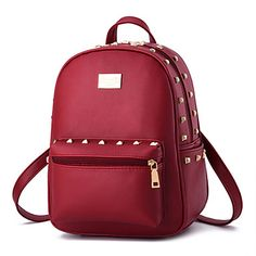Women Backpack Fashion High Quality Youth Leather Backpacks for Teenage Girls Female School Shoulder rivet Bag Bagpack mochila Satchel Backpack, Tote Purse, Backpack 2017, Ladies Backpack, Red Backpack, Clutch Bag, Messenger Bag, Leather School Bag, Leather Bag
