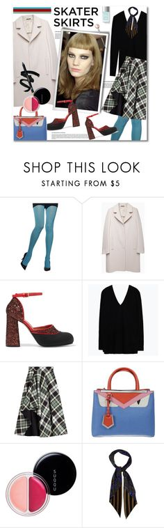 """""""Skater Skirts"""" by watereverysunday ❤ liked on Polyvore featuring Maison Margiela, Marni, Zara, Alexander McQueen, Fendi, SUQQU, Rockins, skaterSkirts and colortights"""