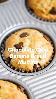 Fun Baking Recipes, Baby Food Recipes, Sweet Recipes, Dessert Recipes, Cooking Recipes, Banana Bread Muffins, Chocolate Chip Banana Bread, Delicious Desserts, Yummy Food