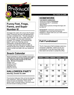 Monthly  Weekly Newsletter Template Editable Entire Year Class