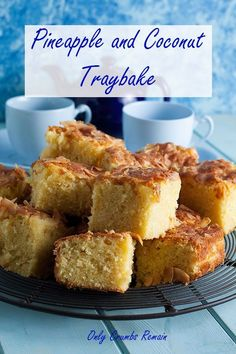 This easy to make pineapple and coconut traybake is deliciously moist and full of flavour. #onlycrumbsremain #traybakecake #sheetpancake