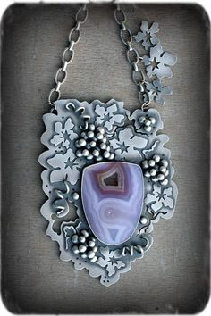 Necklace | Rosy Revolver Designs.  Sterling silver and Agua Nueva Agate.