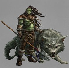 Half Orc Druid with Worg Fantasy Character Design, Character Concept, Character Inspiration, Character Art, Dungeons And Dragons Characters, Dnd Characters, Fantasy Characters, Dnd Orc, Dnd Druid