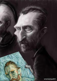 Vincent van Gogh - Ernesto Priego Hugo Weaving, Funny Caricatures, Celebrity Caricatures, Gary Oldman, Vincent Van Gogh, Madonna, Image Shows, Character Concept, Art Sketches