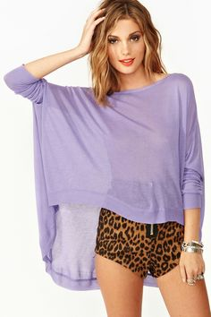 Sunrise Knit in Lilac. High waisted leopard print shorts.