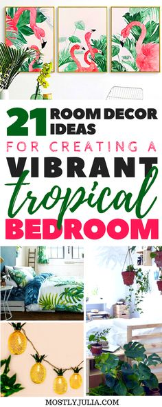 21 room decor ideas for creating a beautiful and relaxing tropical bedroom. Master bedroom boho bohemian decor ideas for a minimalist bedroom white and green vibrant colors. Decoration Tumblr, Decoration Bedroom, Bedroom Themes, Home Decor Bedroom, Diy Room Decor, Living Room Decor, Bedroom Ideas, Living Rooms, Wall Decor