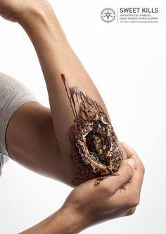 El diseñador Nattakong Jaengsem es el artífice de una colección de imágenes que mezcla la textura dulce y cremosa de helados y pasteles con grotescas heridas supurantes.