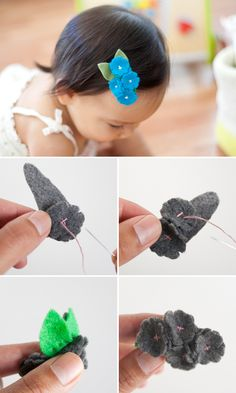 Felt Flower Hair Clips. Sweet. Bow Dazzling Volunteers, these could also be fashioned with an alligator clip for ease in attaching to a stretchy headband.