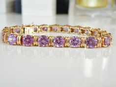 "32CT Color Change Alexandrite 14K over Sterling Silver 925 Tennis Bracelet 8"" #Designer #Statement"
