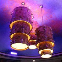 Drums into light fixtures Drum Room, Piano Room, Band Rooms, Music Studio Room, Sound Studio, Drums Art, Function Room, Creation Deco, Music Decor