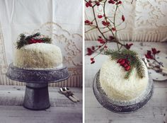 Chocolate cake with forest fruit and coconut
