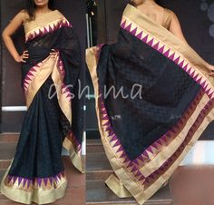 Code:2603160-Woven Kota With Temple Border-Price INR:2390/-