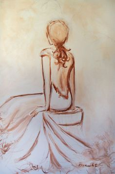Original Painting Figure Woman Tonal Sepia Simplistic minimalist line drawing monochromatic Tonal Figure #1  24x36 inch canvas  acrylic