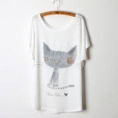 Fashion Cat Animal Print 2016 Casual T Shirt Women Tops Camisetas Mujer Plus…