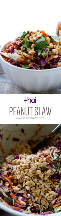 Thai Peanut Slaw... A refreshing new Thai take on the same old coleslaw recipe. This time with a sweet, peanutty kick!