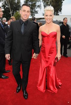 Carey Hart and Pink at the 2014 Grammy Awards