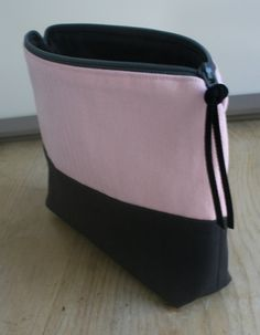 Color Blocked Zipper Pouch with Pink Herringbone and Solid Grey Organic Cotton
