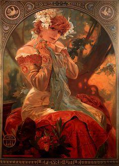 Alphonse Maria Mucha (1860-1939) LefevreUtile Oil on canvas 1903 72 x 53 cm (28.35 x 20.87)