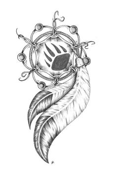 Tattoos Native American Dreamcatcher Tattoo Designs Wolf paw instead of bear