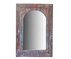 Piezas en madera reciclada: Espejo en teca reciclada II – azul