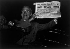 Harry Truman on the day after the presidential elections on November 1948. He was so widely expected to lose the election that the Chicago Tribune ran an incorrect headline. (Photo credit: W. Eugene Smith / Magnum Photos)