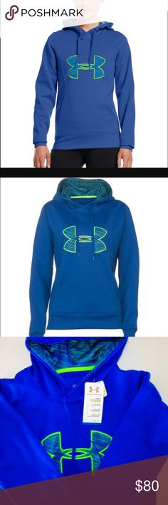 Under Armour Storm Water Resistant Hoodie Under Armour Storm Water Resistant Hoodie.  NWT.  Love this color combo.  Under Armour® Fleece construction finished with highly water-resistant UA Storm technology. Soft, brushed inner layer traps heat for all-day warmth and comfort. Lined, two-piece hood with crossover neck for enhanced comfort. Rolled princess seams create a slimmer, more feminine silhouette. Super streamlined kangaroo pocket design. Ribbed cuffs and hem. Big logo applique front…