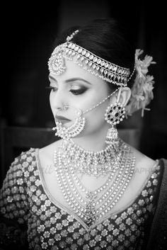 getting ready shots, black and white portrait , large nosering , matha patti , layered necklace