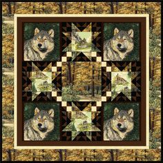 Items similar to Wolf Quilt - Leader of the Pack on Etsy Fabric Panel Quilts, Fabric Panels, Quilt Block Patterns, Quilt Blocks, Southwestern Quilts, Wildlife Quilts, Man Quilt, Moose Quilt, Quilting Projects