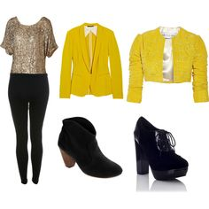 Casual Clothes in yellow and black, created by chona-garcia on Polyvore