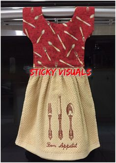 **NEW** Handmade Extra Virgin Olive Oil Blue Oven Door Dress Kitchen Towel #747