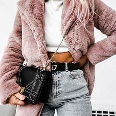 Blush fur coat.