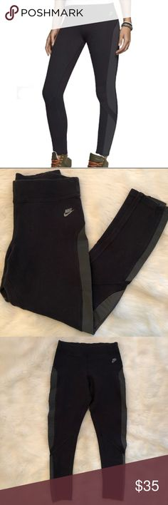 """⚡️Nike Lightning Tights⚡️ Lightning tights from Nike. Gray spellout and swoosh logo on hip, and mesh along side of legs. Measures 13"""" across waist 24.5"""" inseam. Gently worn and in great condition. Nike Pants Leggings"""