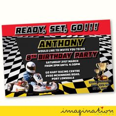 Go Kart Racing Invitation Birthday Party Invite JPEG File Customized by ImaginationInvites on Etsy