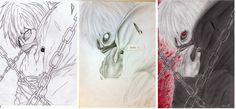 "Una mia Fan Art a matita di Kaneki Ken (Tokyo Ghoul) ^^"""