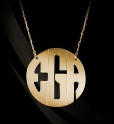 22k Gold Plated Circle Monogram Necklace | Block style by Jane Basch