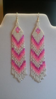 Native American Style Beaded Pink and White Earrings Shoulder