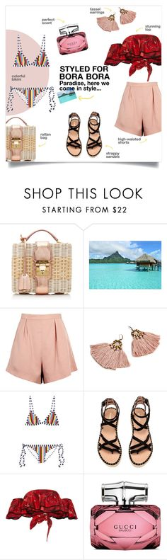 """Styled for Bora Bora"" by taniadeseptembre ❤ liked on Polyvore featuring Mark Cross, Finders Keepers, Rye, Johanna Ortiz, Gucci, Summer, beach, borabora and outfitsfortravel"