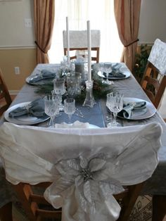 HGTV fan AprilD26 used winter snow and ice as the inspiration for her holiday tablescape. Crystal glasses, a blue table runner and silver accents create a graceful and elegant dining experience.
