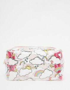 Skinnydip | Skinnydip ASOS Exclusive Unicorn & Rainbow Print Make Up Bag at ASOS