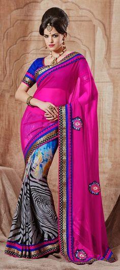 146144: #MixPrints - wear Zebra printswith #florals. Shop this #saree. #animalprints