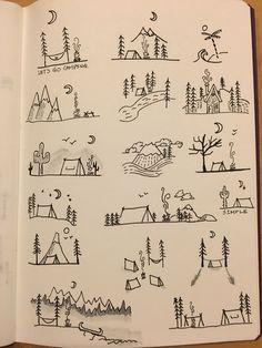Camping Gekritzel - # A Lápiz De Tareas Creativa ? Mini Drawings, Doodle Drawings, Easy Drawings, Tattoo Drawings, Tattoo Sketches, Bullet Journal Ideas Pages, Bullet Journal Inspiration, Kritzelei Tattoo, Doodle Tattoo