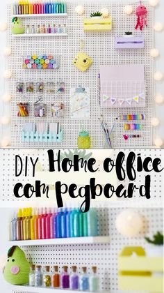 Today I show you how I decorated my home office or craft room (the famous ., DIY and Crafts, Today I show you how I decorated my home office or craft room (the famous little room of the kkkk mess) using pegboard! The material is super cheap an. Study Room Decor, Craft Room Decor, Cute Room Decor, Diy Bedroom Decor, Craft Rooms, Bedroom Organization Diy, Craft Room Storage, Pegboard Organization, Pegboard Craft Room