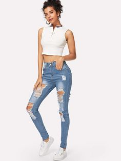 Style: Casual Pant Type: Skinny Composition: Denim, Cotton, Polyester, Spandex Details: Ripped Closure Type: Button Fly Color: Blue Fit Type: Skinny Waist Type: Mid Waist Pant Length: Long Fabric: Fabric has some stretch Season: Spring/Summer Denim Jeans, Ripped Knee Jeans, Cropped Wide Leg Jeans, Flare Leg Jeans, Distressed Skinny Jeans, Short Jeans, Destroyed Jeans, Ripped Denim, Jeans Pants