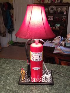 fire extinguisher lamp I made, this is a larger one than the other one Fire Department, Fire Dept, Firefighter Decor, Cool Fire, Pipe Lamp, Metal Projects, Home Design Decor, Fire Extinguisher, Lamp Shades