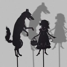 Little Red Cap and the Big Bad Wolf / Laser cut Shadow Puppets/ Fairy Tale Series from Isabellas Arts on etsy