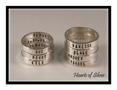 Stamped rings with names on the outside and dates on the inside ($10 for the whole order no matter how many rings). 3mm. $20