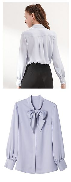 Elegant chic silk women blouse! Comes in light blue color at $56.99. Just click on the picture to see the details.