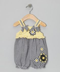 Take a look at this Navy & Yellow Flower Bubble Romper - Infant by Good Lad on #zulily today!