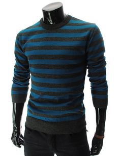 :::: Theleesshop :::: (SG01-BLUE) Slim Fit Wool Knit Tshirts