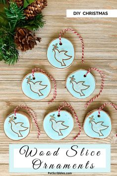 DIY Wood Slice Christmas Ornaments: How to stamp charming wood slice ornaments for Christmas!